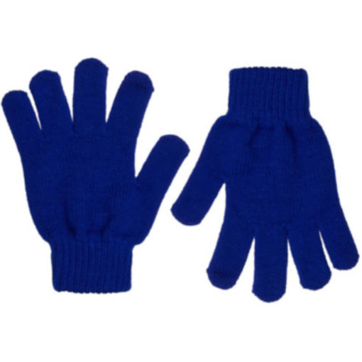 The Aspen Gloves is 100% acrylic knitted royal blue gloves with indiviually shaped fingers and ribbed wristband closure