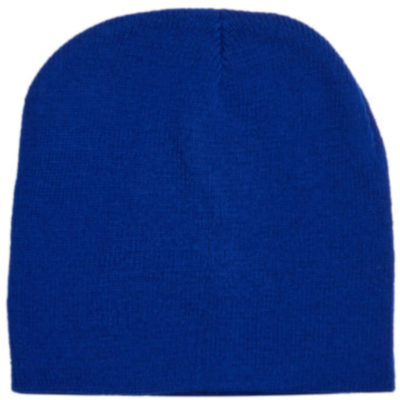 The Skull Beanie Is A Royal Blue Knitted Acrylic Beanie With A Comfortable Stretch Fabric