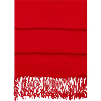 The Pashma Scarf is a soft and lightweight rayon material red scarf with tassle detail on the edges