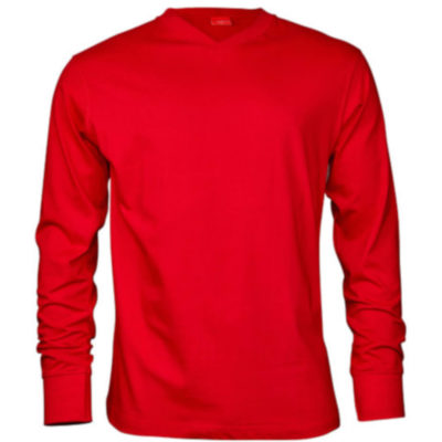 The Red Classic Long Sleeve V Neck Is Made From 100% Polyester. The Features Include A Double Stitched Hem On The Waistline And Sleeves.