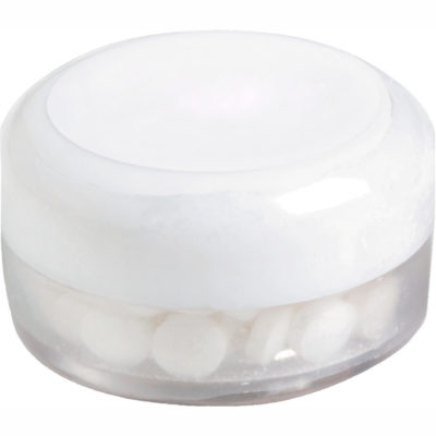 The white Sweet Tooth Candy Jar is made from PP. It's FDA approved with a peppermint flavoured sugar free mints.