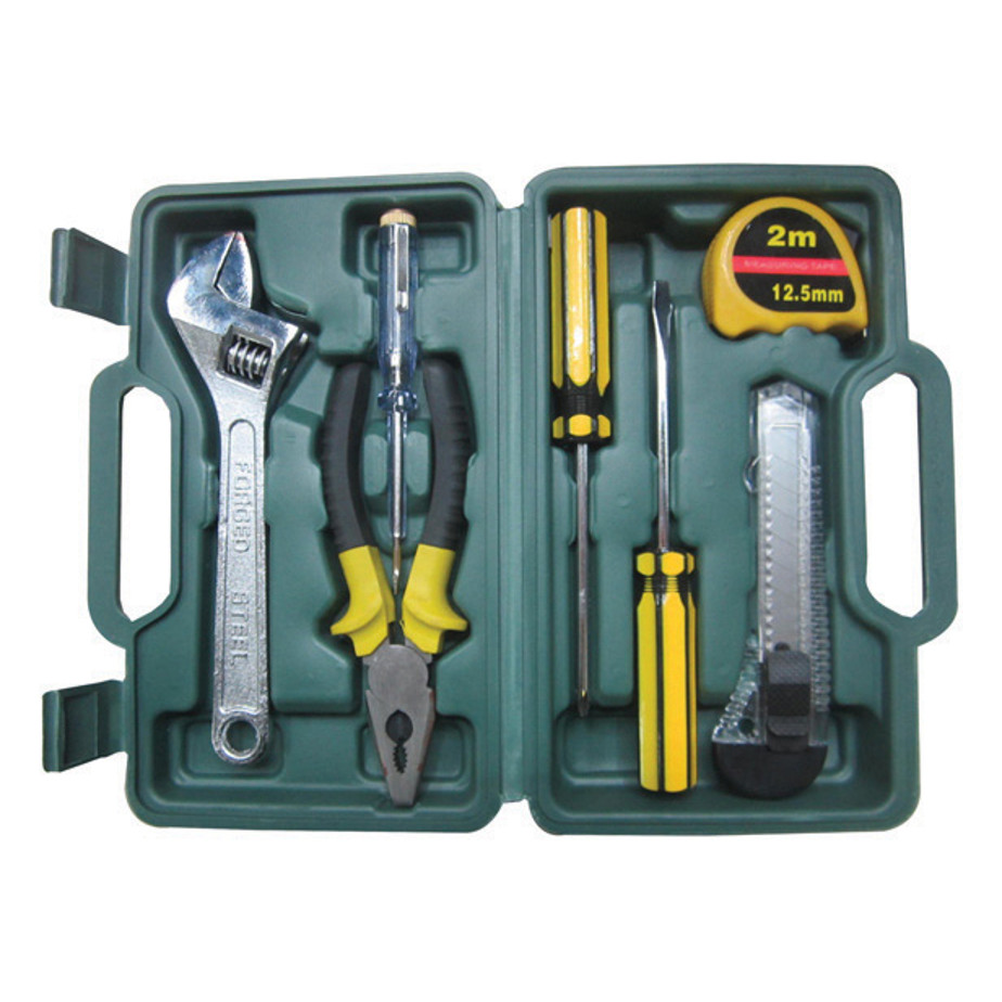 The DIY Tool Box Includes 3 Screwdrivers, Utility Knife, Tape Measure, Pliers, Shifting Spanner And Carry Case.