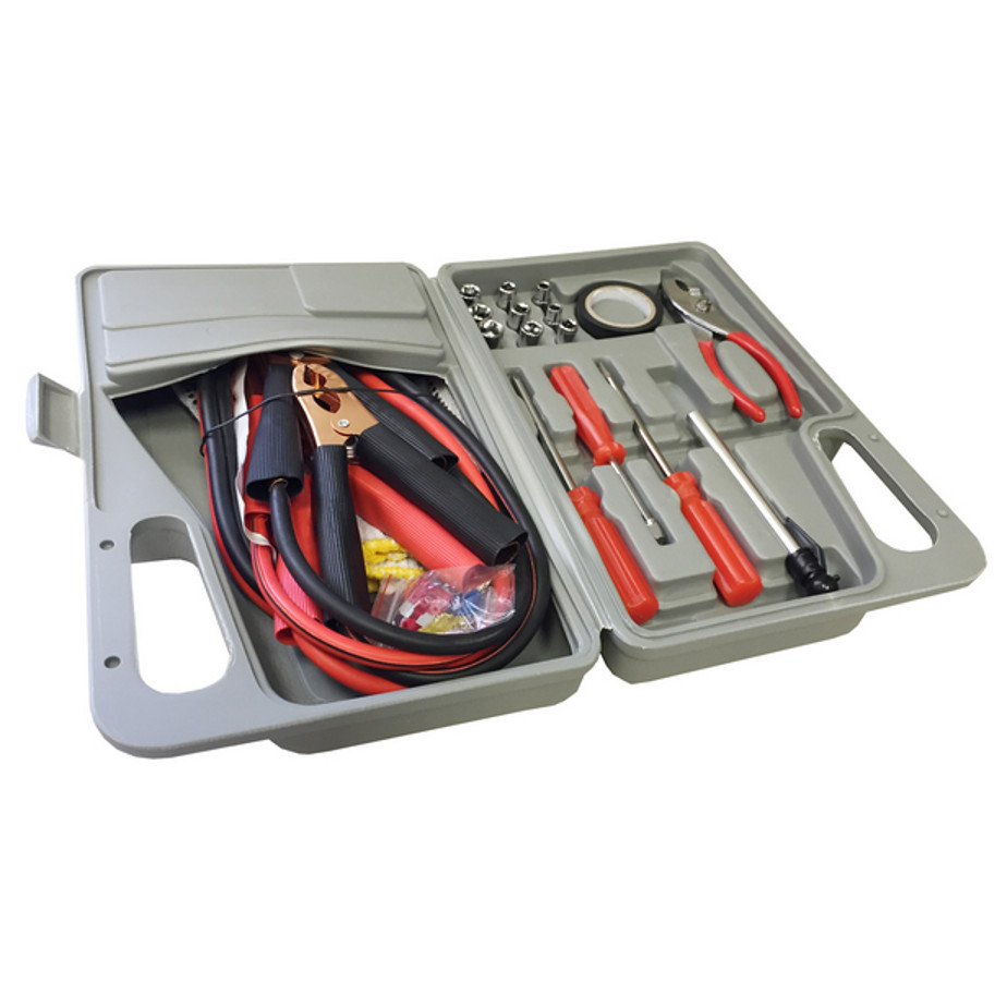 The Car Emergency Case Includes A Booster Cable, A Pair Of Electrical Insulated Gloves , Tire Pressure Gage With Three Screwdrivers, Nine Bits, Tongue & Groove Pliers, One Electrical Tape, Four Fuses And Six Cable Terminal Ends.