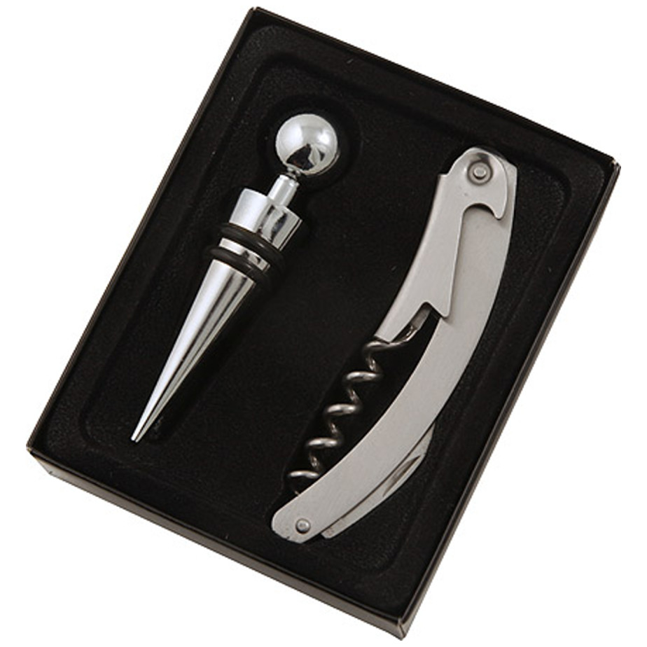The Two Piece Bar Set is made from stainless steel. The set includes a waiters friend and stopper.