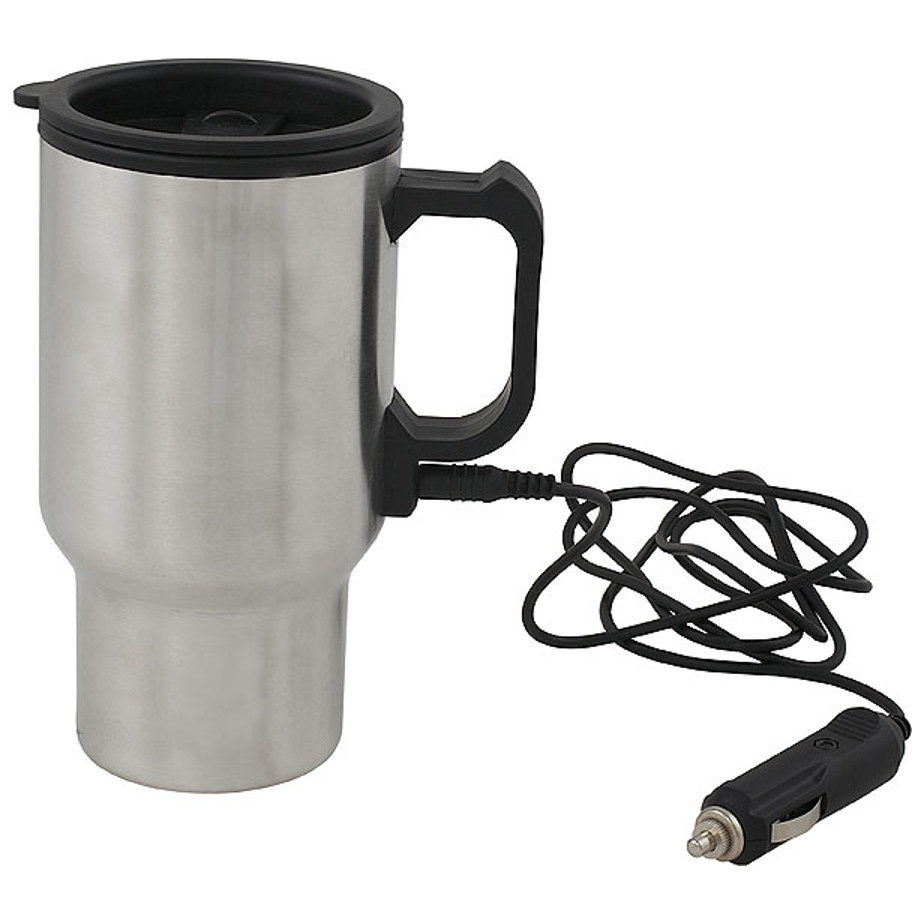 The Car Charger Mug Has A Double Wall With An Insulated Lid Including A Cord.
