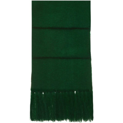 The Aspen Scarf is a green 84g acrylicknitted winter wear item with a stretchy quality to it and has a fringe