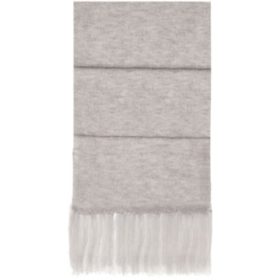 The Aspen Scarf is a grey melange 84g acrylicknitted winter wear item with a stretchy quality to it and has a fringe