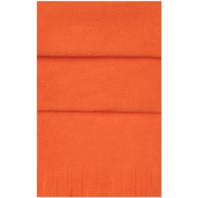 The Blizzard Scarf is a orange 82g polar fleece winter wear item with wind resistant quality and a fringe