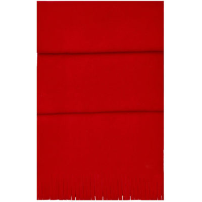 The Blizzard Scarf is a red 82g polar fleece winter wear item with wind resistant quality and a fringe