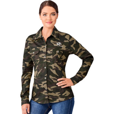 The Ladies Long Sleeve Wildstone Shirt is a 100% cotton twill camouflage long sleeve shirt. With a front and back yoke for a great shape and two pleated chest pockets each with a button flap and metal buttons