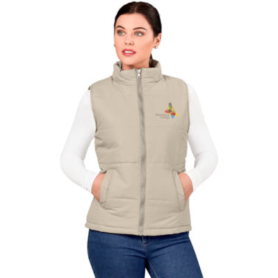 The Khaki Ladies Rego Bodywarmer Is Made From 100% Polyester And Taffeta. The Bodywarmer Inlcudes A Wind Placket, Two Hand Pockets. Two Interior Pockets With Velcro Closure And A Hanging Loop.