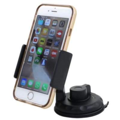 The Car Phone & GPS Holder is black ABS plastic holder that can hold your deivce or GPS tool, Contains an adhesive backing surface to attach to your dashboard or window and an extendable clip. Shown here with a phone for display purposes