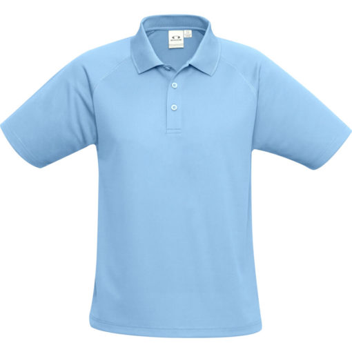 The Kids Sprint Golf Shirt is 145g/m2 light blue 100% cool polyester short sleeve golf shirt. With raglan sleeve and top stitching detail, three button placket and side slits for a comfortable fit