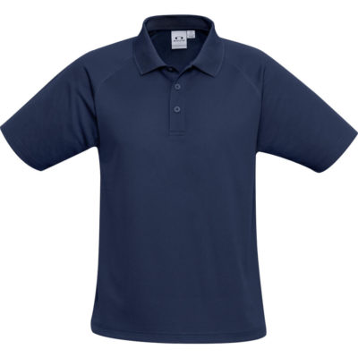 The Kids Sprint Golf Shirt is 145g/m2 navy 100% cool polyester short sleeve golf shirt. With raglan sleeve and top stitching detail, three button placket and side slits for a comfortable fit