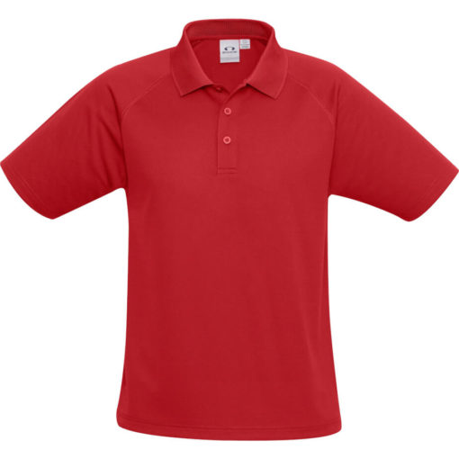 The Kids Sprint Golf Shirt is 145g/m2 red 100% cool polyester short sleeve golf shirt. With raglan sleeve and top stitching detail, three button placket and side slits for a comfortable fit
