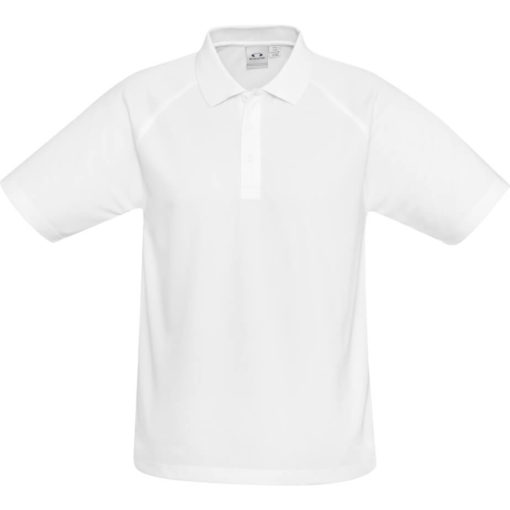 The Kids Sprint Golf Shirt is 145g/m2 white 100% cool polyester short sleeve golf shirt. With raglan sleeve and top stitching detail, three button placket and side slits for a comfortable fit