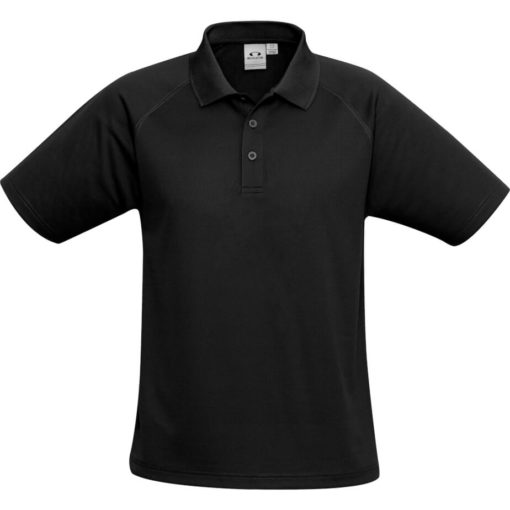 The Kids Sprint Golf Shirt is 145g/m2 black 100% cool polyester short sleeve golf shirt. With raglan sleeve and top stitching detail, three button placket and side slits for a comfortable fit