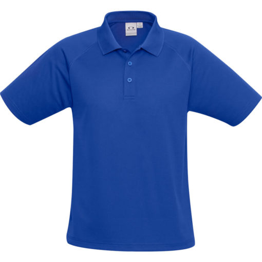 The Kids Sprint Golf Shirt is 145g/m2 blue 100% cool polyester short sleeve golf shirt. With raglan sleeve and top stitching detail, three button placket and side slits for a comfortable fit