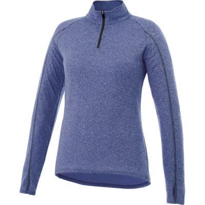 The Ladies Taza 1-4 Zip Sweater is 100% micro polyester long sleeve blue sweater. With an anti microbial and wicking, snag resistant finish. In a flare knit detail, reverse coil zipper, sleeve cuffs and a thumb exit on the sleeves. Includes an exterior media cord guide