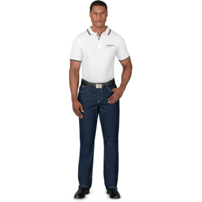 The Mens Sierra Jeans is 100% cotton, 11oz denim long pant jeans with five pockets spread over the front and back of the jeans