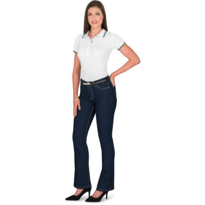 The Ladies Sierra Jeans is 97% cotton and 3% speandex blended, 9.5oz stretchy denim long pant jeans with five pockets spread over the front and back of the jeans