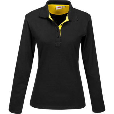 The Ladies Long Sleeve Solo Golf Shirt is a polyester and cotton blend, pique knit long black golf shirt. With a contrasting yellow inner placket, back buggy and neck tape, with a black knitted collar and four button placket