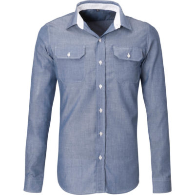 The Mens Long Sleeve Windosr Shirt is a polyester and cotton blended long sleeve navy shirt, With a constrasting white inner collar stand and matching stitching, two chest pockets with buton down flaps and a curved hem