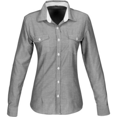 The Ladies Long Sleeve Windosr Shirt is a polyester and cotton blended long sleeve grey shirt, With a constrasting white inner collar stand and matching stitching, two chest pockets with buton down flaps and a curved hem, front and back darts and a back yoke for an excellent fit