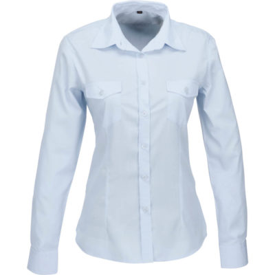 The Ladies Long Sleeve Kensington Shirt is a polyester and cotton poplin light blue button up shirt. With tonal buttons, two chest pockets with button down flap, two button cuff on sleeves, front and back darts for shaping, a back yoke and a curved hem