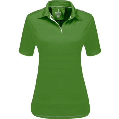 The Ladies Prescott Golf Shirt is a green 100% micro polyester stripe jersey knit short sleeve golf shirt. Features include side slits, horizontal stripe surface, two-piece self fabric collar, contrasting white sleeve tipping, neck tape, vertical inlays, stitching detail and one button placket peepout. Snag resistant and UV protection