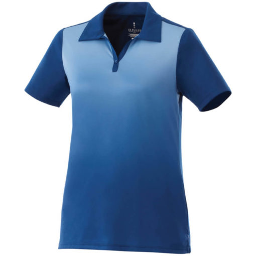 The Ladies Next Golf Shirt is a 100% micro polyester blue shirt with graphic gradient interlock knit wicking finish. A unique ombre design along the fron of the shirt while the back is a solid matching colour