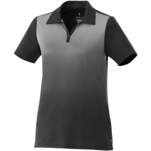 The Ladies Next Golf Shirt is a 100% micro polyester black shirt with graphic gradient interlock knit wicking finish. A unique ombre design along the fron of the shirt while the back is a solid matching colour