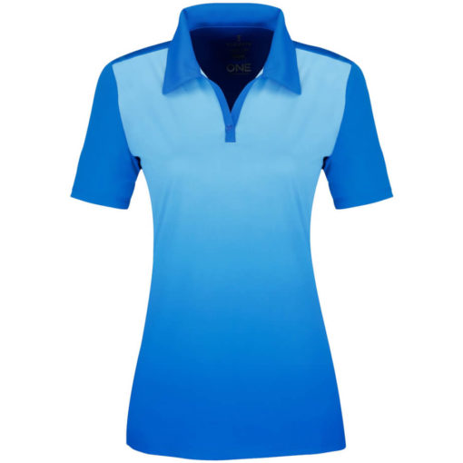 The Ladies Next Golf Shirt is a 100% micro polyester light blue shirt with graphic gradient interlock knit wicking finish. A unique ombre design along the fron of the shirt while the back is a solid matching colour