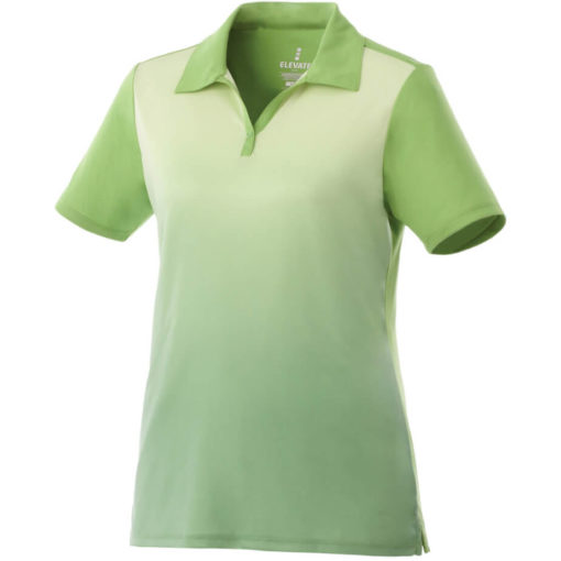 The Ladies Next Golf Shirt is a 100% micro polyester lime shirt with graphic gradient interlock knit wicking finish. A unique ombre design along the fron of the shirt while the back is a solid matching colour
