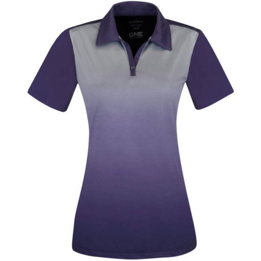 The Ladies Next Golf Shirt is a 100% micro polyester purple shirt with graphic gradient interlock knit wicking finish. A unique ombre design along the fron of the shirt while the back is a solid matching colour