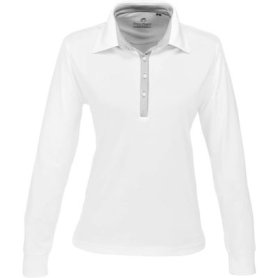 The Ladies Long Sleeve Pensacola Golf Shirt is a white 100% single jersey knit, performance polyester long sleeve golf shirt. With a self fabric collar and cuffs, fine stripe contrasting grey inner collar stand and four button placket, extended back length, a back buggy and side slits