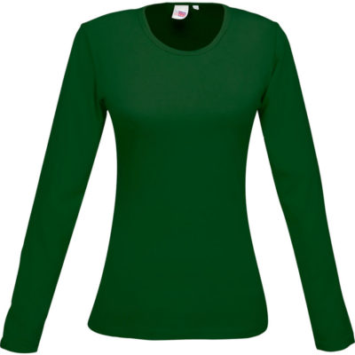 The Ladies Long Sleeve Portland T Shirt is a 100% cotton, single jersey knit green long sleeve tshirt with a self fabric crew neck