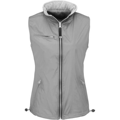 The Ladies Reversible Fusion Bodywarmer in the colour grey with a elastic cord and stoppers in the hood and in the bottom hem.