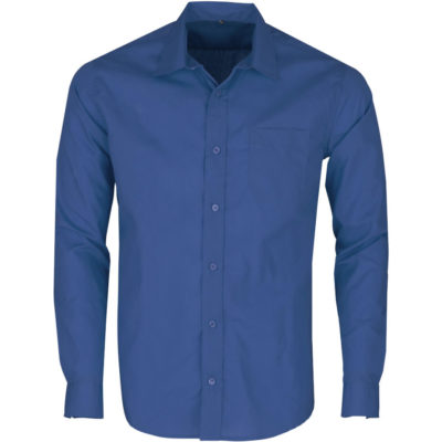 The Mens Long Sleeve Kensington Shirt is a polyester and cotton poplin blend royal blue button up shirt. With tonal buttons, a chest pocket, back yoke with knife pleats, an adjustable two button cuff on the sleeves and a curved hem