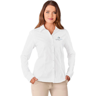 The Ladies Long Sleeve Milano Shirt is a 100% cotton twill long sleeve COLOUR button up shirt. With tonal buttons, back yoke, front and back darts for a great shape and an adjustable two button cuff on the sleeves