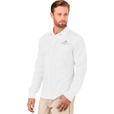 The Mens Long Sleeve Milano Shirt is a 100% cotton twill long sleeve COLOUR button up shirt. With tonal buttons, a chest pocket, adjustable two cutton cuff on the sleeves. a back yoke with box pleat detail and a curved hem