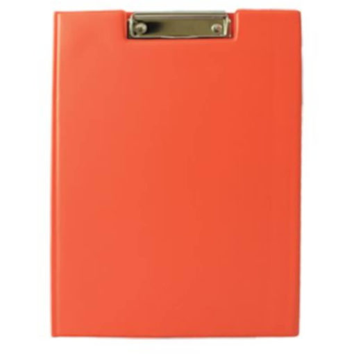 The Chase A5 Clipboard Folder is a orange PVC folder with a flip open cover and a metal clipboard holder