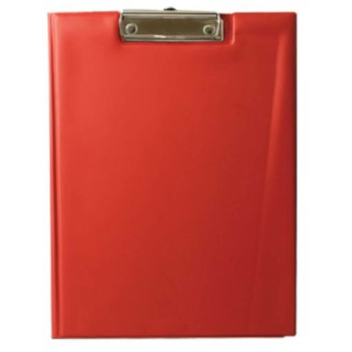 The Chase A5 Clipboard Folder is a red PVC folder with a flip open cover and a metal clipboard holder