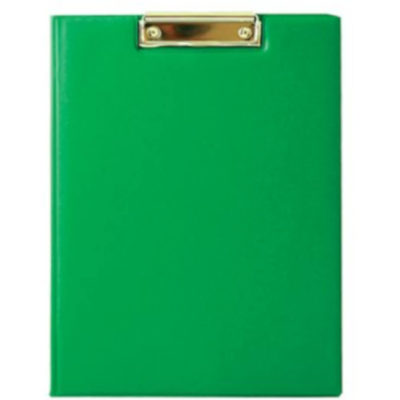 The Chase A5 Clipboard Folder is a green PVC folder with a flip open cover and a metal clipboard holder