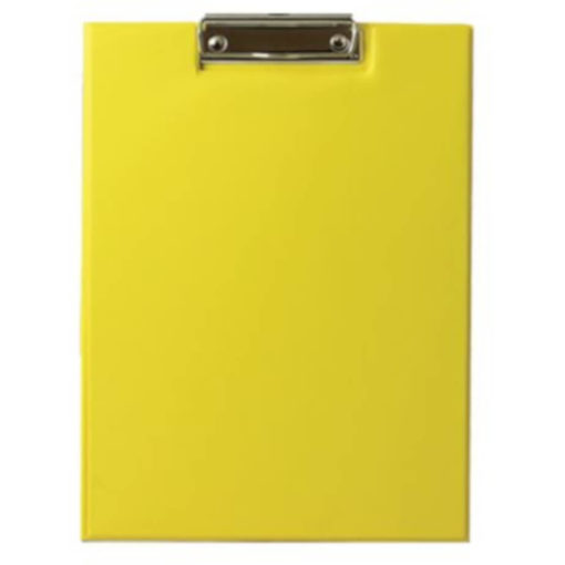 The Chase A5 Clipboard Folder is a yellow PVC folder with a flip open cover and a metal clipboard holder