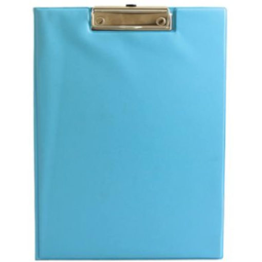 The Chase A5 Clipboard Folder is a aqua PVC folder with a flip open cover and a metal clipboard holder