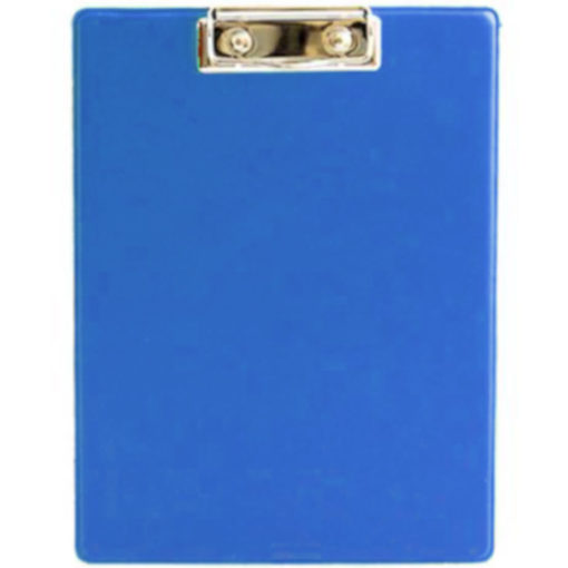 The Chase A5 Clipboard Folder is a blue PVC folder with a flip open cover and a metal clipboard holder