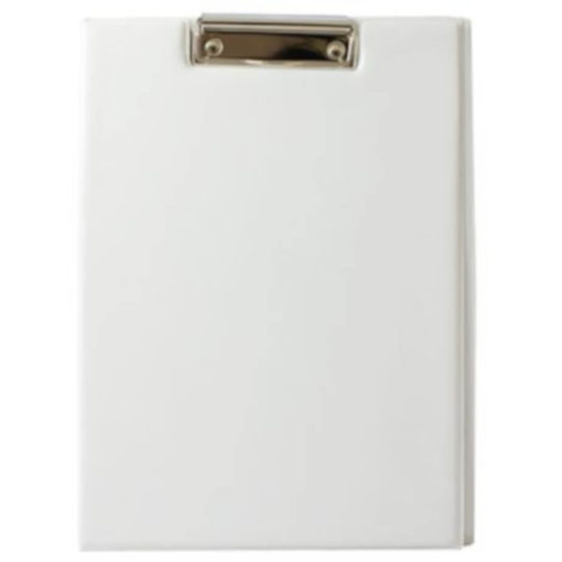 The Chase A5 Clipboard Folder is a white PVC folder with a flip open cover and a metal clipboard holder
