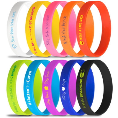 The Silicone Wristbasnd is a circle shaped silicone bangle that is branded with Covid-19 related slogans