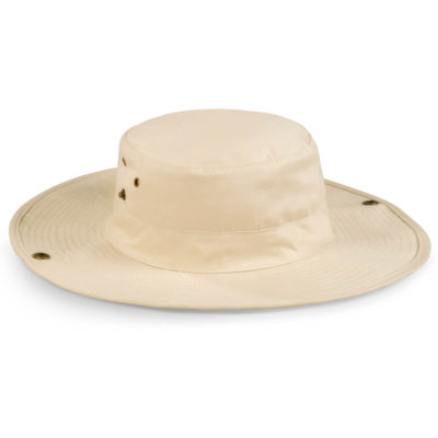 The Willow Bush Hat in natural with stitched sweatband and self fabric cord. Metal eyelets and brass studs. 100% cotton